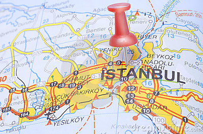 Destination Istanbul on the map of Turkey