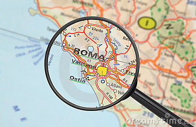 Destination - Roma (with magnifying glass)