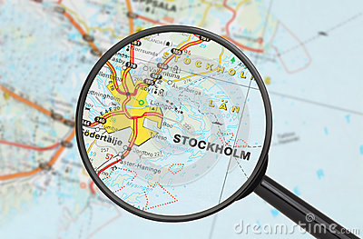 Destination - Stockholm (with magnifying glass)