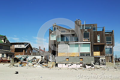 Destroyed beach house in devastated area six months after Hurricane Sandy Editorial Image