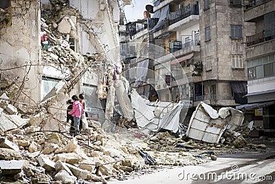 Destroyed building Aleppo. Editorial Image