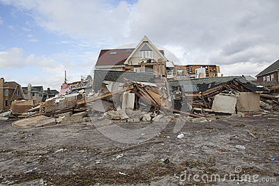 Destroyed homes in  Far Rockaway Editorial Stock Photo