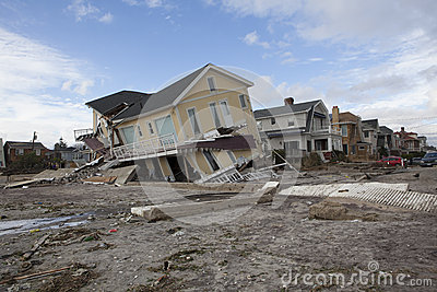 Destroyed homes in Far Rockaway after Hur Editorial Image