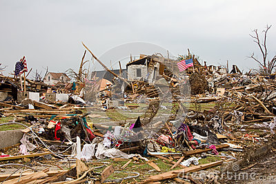 Destroyed House Joplin Missouri Tornado Flag