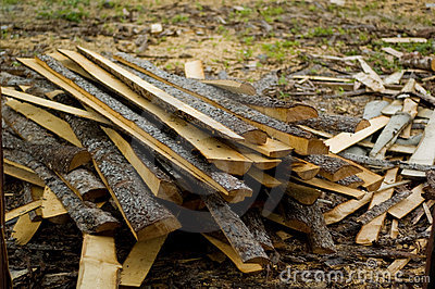 Destroyed pieces of wood in a mill