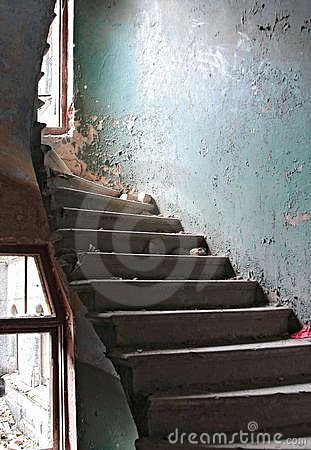 The destroyed spiral staircase