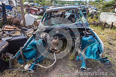 Destroyed Vehicle Scrap Editorial Photography