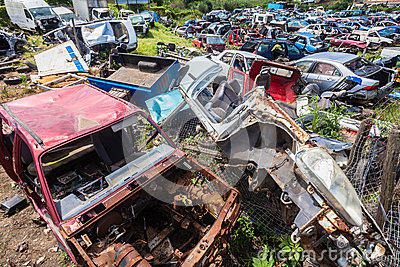 Destroyed Vehicles Crash Scrap Editorial Stock Image