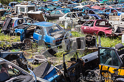 Destroyed Vehicles Yard Scrap Editorial Stock Image