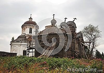 Destroyed wooden church