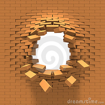 Destruction of a brick wall