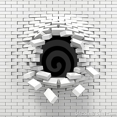 Free Destruction Of A White Brick Wall Stock Images - 20386624