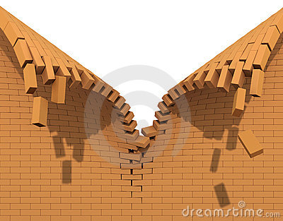 Destruction of a red brick wall