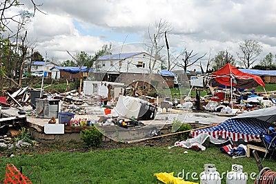 Destruction After Tornadoes Hit Saint Louis Editorial Photo