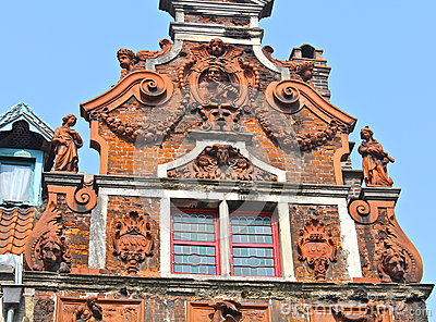 Detail of 17th Century Building In Ghent, Belgium