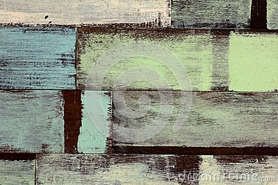 Detail of abstract art color wood wall white blue