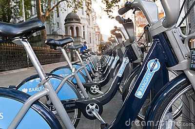 Detail of bicycles for hire in London. Editorial Image