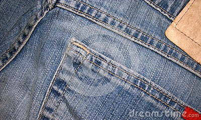 Detail of blue jeans.