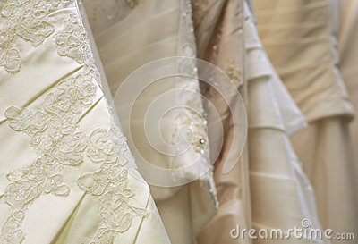 Detail of bridal gowns