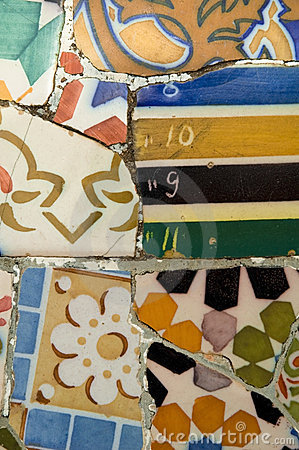 Detail of the ceramics from the Gaudi bench
