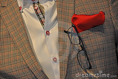 Detail of checkered casual suit