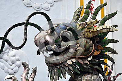 Detail of a Chinese-style fountain with dragon sculptures