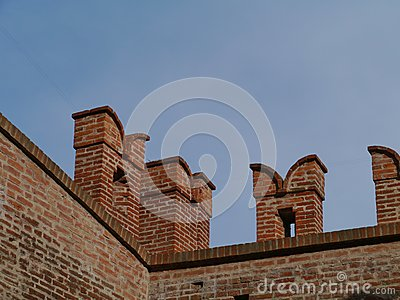 A detail of the city wall of Cittadella in Italy