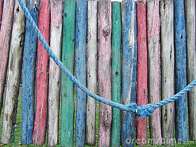 Detail of a colorful dilapidated playground
