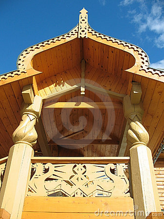 Detail of the decoration of the wooden hou