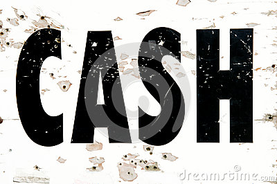 Detail of distressed cash sign