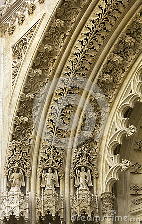 Detail on the door of the cathedral in Zagreb Croatia