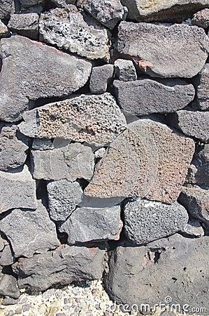 Detail, dry built lava stone wall