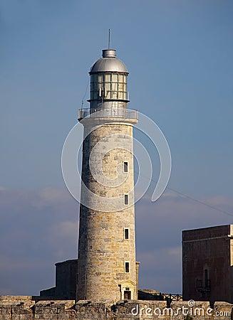 Detail of El Morro lighthouse in havana bay