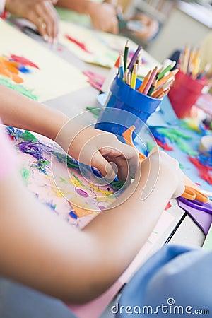 Detail of elementary school art class