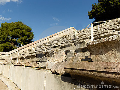 Detail of Epidaurus ancient Theater  in greece