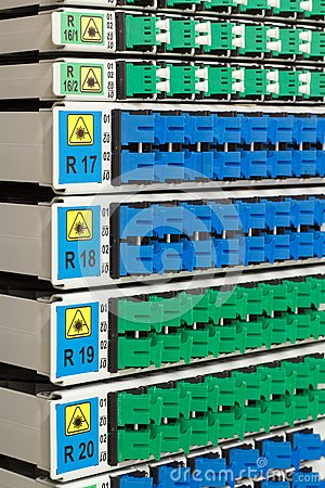 Detail of fiber optic rack with optical connectors