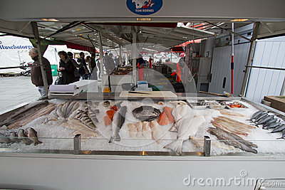 Detail from fish market in Bergen, Norway Editorial Stock Photo