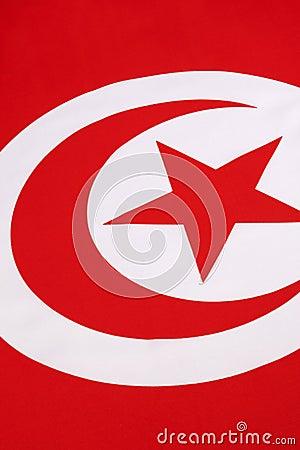Detail on the flag of Tunisia