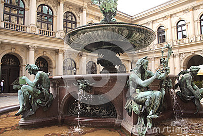 Detail of the fountain in the city hall of Hamburg