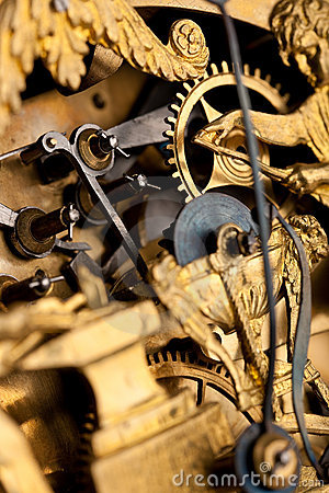 Detail of gold historic clock, clockwork