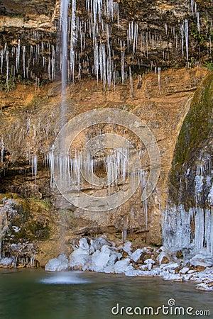 Detail of Gorg Gran de Colomer frozen. Ripolles, Spain.