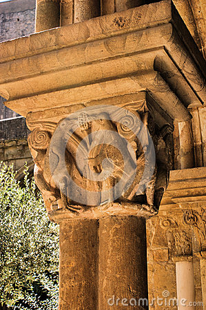 Detail of gothic capital in Se Velha, Coimbra