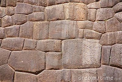 Detail, high quality of Inca stone wall