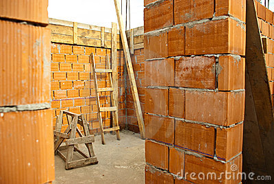 Detail of house under construction Stock Photo