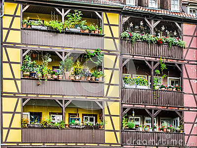 Detail of houses Merchant s Bridge, Erfurt, Germany Editorial Photography