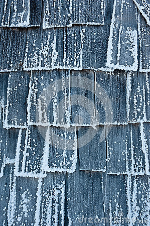 Detail of ice covered hut