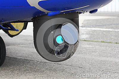 Detail of infrared camera on helicopter