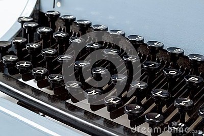 Detail of keys on retro typewritter
