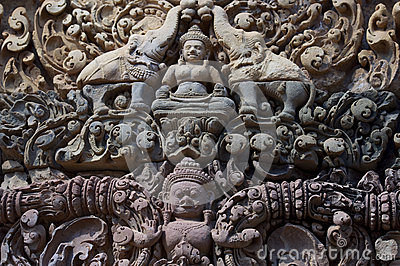 Detail of khmer stone carving