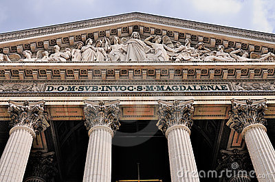 Detail of La Madeleine in Paris